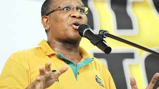 Cape Town. 140406. Fikilie Mbalula addresses supporters in Nyanga today in memory of Solomon Mahlangu for the ANC. Reporter Xolani Koyana. Picture COURTNEY AFRICA