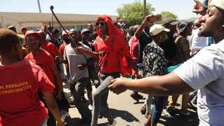 The atmosphere in Brackenfell remains tense this morning as the EFF delivered on their protest to descend on the community, which resulted in police firing tear gas, stun grenades amd a water cannon. Picture: Henk Kruger/African News Agency