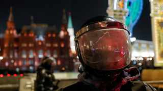 A riot police officer stands guard in front of the Kremlin after Russian opposition leader Alexei Navalny was sentenced to three and a half years in jail. File picture: Evgenia Novozhenina/Reuters