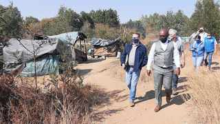 Solly Msimanga, DA caucus leader in the provincial legislature, at the site east of the capital which has been illegally occupied by hundreds of people. Picture: Liam Ngobeni