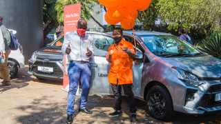 Vusi Ngobeni, an UberGo driver from Cosmo City, was awarded with a Toyota Agya. He will get two years free as part of the UberGo/Moove drive-to-own scheme. Picture: Supplied