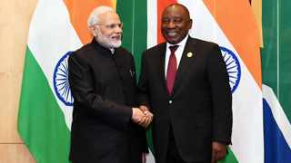 President Cyril Ramaphosa shakes hands with Indian Prime Minister Narendra Modi during Ramaphosa's visit to New Delhi in 2019. File photo: Dirco