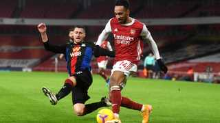 Arsenal's Pierre-Emerick threatened early on for Arsena, but couln't break the deadlock. Picture: Neil Hall/PA via BackpagePix