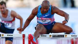File picture: Antonio Alkana wins the men's 110m hurdles final at the third and final Liquid Telecom Athletix Grand Prix Series meeting in Paarl in March. Photo: EPA/Nic Bothma