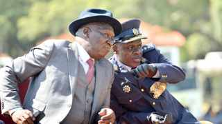 Police Minister Bheki Cele and National Police Commissioner General Khehla John Sitole at a SAPS parade to welcome the former as new police minister at the SAPS Tshwane Academy in Pretoria.Picture: Bongani Shilubane/African News Agency (ANA)