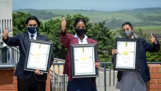 Shaheen Govender 2nd Place, Obono Eyono Colombe Cynthia 1st place, Jordane Hannah Vartharajulu 3rd place at the provincial announcement of 2020 matric results held at the Anton Lembede Maths, Science, and Technology Academy in La Mercy. Picture : Motshwari Mofokeng /African News Agency (ANA)