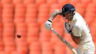 FILE - England's Ben Stokes plays a shot during the fourth Test against India. Photo: Sajjad Hussain/AFP