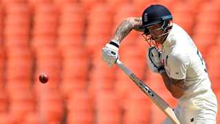 England's Ben Stokes plays a shot on the first day of the fourth Test match against India at the Narendra Modi Stadium in Motera on Thursday. Photo: Sajjad Hussain/AFP