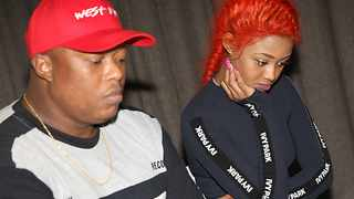 Babes Wodumo looked sombre at a press briefing in Durban, with her boss, Mampintsha. Picture: Zanele Zulu/ANA Pictures