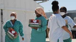 Checkers donated 430 care packs for health care workers at Brackengate hospital. The Shoprite Group gave the care packs to honour the hospital staff's selfless acts of service. They also donated 150 care packs to Covid-19 patients. Picture: Armand Hough/African News Agency(ANA)