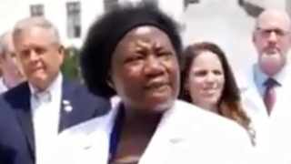 One of the speakers in the video, who identified herself as Dr. Stella Immanuel. Picture: Screengrab