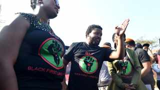 Black First Land First (BLF) president Andile Mngxitama, right, and BLF deputy president Zanele Lwana address supporters. Picture: Itumeleng English/African News Agency (ANA)