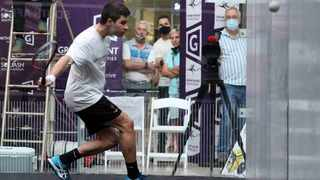 Ruan Olivier of Tshwane plays a backhand during his upset win over top seed JP Brits in the semifinals of the Growthpoint SA Nationals squash tournament at the Brooklyn Mall in Pretoria today. Photo: Reg Caldecott