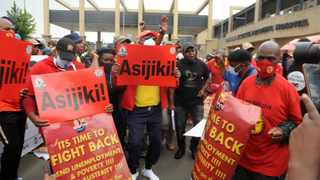 South African Federation of Trade Unions (Saftu) picket outside the Chris Hani Baragwanath Hospital. Picture: Itumeleng English/African News Agency(ANA)