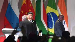 China's President Xi Jinping and South Africa's President Cyril Ramaphosa arrive for the opening of the 10th BRICS Summit at the Sandton Convention Centre, Johannesburg. Picture: Itumeleng English/African News AgencyANA