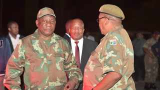 President Cyril Ramaphosa, Minister in the Presidency Jackson Mthembu, and General Solly Shoke. Picture: GCIS