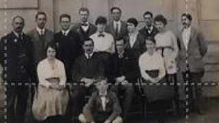 Railways office staff in Ladysmith in 1918. Charles Shackleton in the back row, 4th from the left, wearing a bow tie. He survived the Spanish Flu.