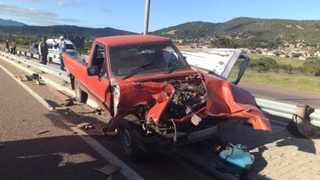 A bakkie and car collided on the road between Haenertsburg and Moria, 40km from Polokwane, at around 7am. Picture: ER24
