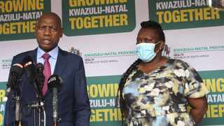 Health Minister, Dr Zweli Mkhize, addresses the media after his oversight visit to hospitals in KZN this week. He is seen with KZN MEC for Health, Nomagugu Simelane-Zulu.