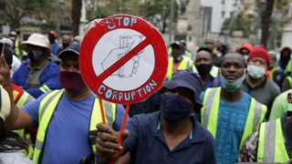 South Africa - Durban - 29 September 2020 - Water and sanitation workers protesting against the corrupt officials and also not getting their salaries on time. They handed their grievances to eThekwini mayors office in Durban. Picture: Bongani Mbatha/African News Agency(ANA)