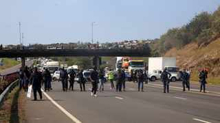 Durban artists staged a protest on the N3 yesterday. Picture: Nqobile Mbonambi / ANA