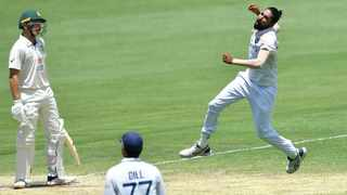 Mohammed Siraj of India celebrates the wicket of Marnus Labuschagne of Australia during day four of the fourth test match at the Gabba in Brisbane on Monday. Photo: Darren England/Reuters