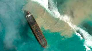 An aerial view of the MV Wakashio, a bulk carrier ship that recently ran aground off the southeast coast of Mauritius. Picture: 2020 Maxar Technologies. via AP
