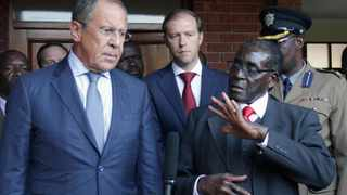 Mugabe with Russia's FM, Lavrov at his rural home in Zvimba shortly before commissioning big platinum mine. Mugabe described Russia as a long standing ally. Picture credits: Tawanda Karombo.