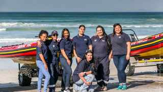 Charnelle Hare, Faatin Samodien, Keena Swartbooi, Michaela Leo, Toni Zill, Bilqees Kyzer and Nicky Whitehead (in front) of NSRI Station 16. Picture: Simon McDonnell