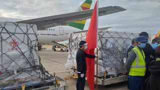 File photo: Zimbabwe's President Emmerson Mnangagwa shared this picture of the arrival of the first shipment of China's Sinopharm Covid-19 vaccine in his country. Picture: @edmnangagwa /Twitter