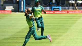Proteas leg-spinner Imran Tahir celebrates in trademark style after getting a wicket. Picture: Phando Jikelo/African News Agency (ANA)