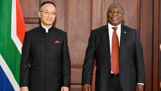 China's Chen Xiaodong with President Cyril Ramaphosa at the credentials ceremony at the Sefako Makgatho Presidential Guesthouse in Pretoria. Picture: Kopano Tlape/GCIS