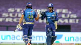 """ruthless"""""""" on the field and maintain their momentum in the Indian Premier League after the defending champions climbed to the top of the table with their fifth win in as many matches. Photo: @mipaltan via Twitter"""