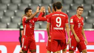 Treble winners Bayern Munich crushed Schalke 8-0 with a hat-trick from Serge Gnabry (left) and a superb debut from Leroy Sane. Picture: Matthias Schrader/AP