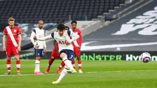 Tottenham Hotspur's Son Heung-min scores the winning goal in their Premier League game against Southampton at the Tottenham Hotspur Sadium. Photo: Clive Rose/Reuters