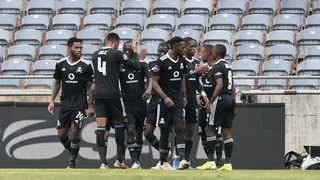 Vincent Pule of Orlando Pirates celebrates goal with teammates in their game against Orlando Pirates. Photo: Sydney Mahlangu/BackpagePix