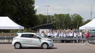 The Renault crew celebrate as the lead Zoe completes 1618km in 24 hours, but the reality is that it spent nine of those 24 hours hooked up to a special high-capacity charger.