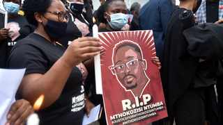 Family and colleagues at the Tshwane Department of Human Settlements gathered outside Tshwane House to pay their last respects to Mthokozisi Ntumba, who was killed last week during a student protest in Braamfontein, Johannesburg. Picture: Thobile Mathonsi/African News Agency (ANA)