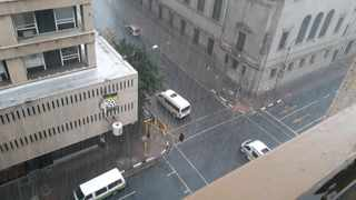 Heavy rain and hail pours down in Joburg central. Picture: Karen Sandison/African News Agency(ANA)