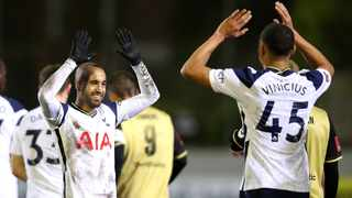 Tottenham Hotspur's Lucas Moura celebrates with Carlos Vinicius after scoring their third goal during their FA Cup third round game against Marine AFC. Photo: Clive Brunskill/Reuters