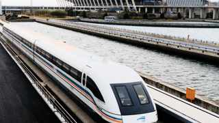 A magnetic levitation (Maglev) train leaves the Pudong International Airport in Shanghai. A similar train is planned between Durban and the King Shaka International Airport.