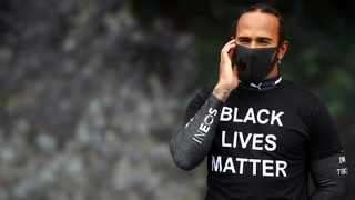 Mercedes' Lewis Hamilton wearing a t-shirt in support of the Black Lives Matter campaign. Picture: Mark Thompson/Reuters