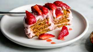 Strawberry gingersnap icebox cake. Picture by Andrew Scrivani for The New York Times.