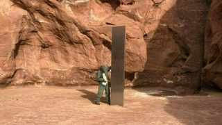A mysterious metal monolith was discovered in Utah after public safety officers spotted the object while conducting a routine wildlife mission. Picture: Utah Department of Public Safety/AFP