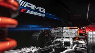 AMG's new hybrid system will include an electric motor mounted on the rear axle to provide instantaneous acceleration. Picture: Daimler AG.