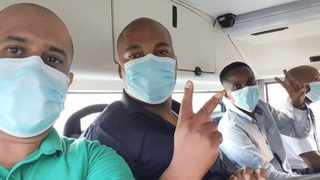 Officials from the departments of health and defence who were sent to Wuhan to repatriate 121 South Africans from the epicentre of the Covid-19 pandemic. The picture of the team was shared on Twitter by Health Minister Zweli Mkhize, who said they were in high spirits.