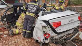A 33-year-old man suffered multiple, serious injuries when his car veered out of control and slammed into a residential boundary wall on Oak Street in Northmead, Benoni in Ekurhuleni on Sunday morning. Photo: ER24