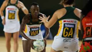 Proteas captain Bongi Msomi (WA) in action. Photo: @Netball_SA on twitter