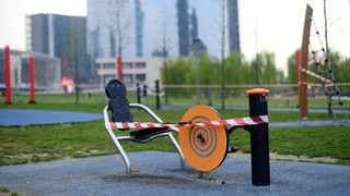 """Closed exercise equipment is seen at the """"Biblioteca deli Alberi"""" public park, amid concerns about the spread of coronavirus disease (COVID-19), in Milan. Picture: Daniele Mascolo/Reuters"""