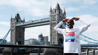 British Olympic athlete Sir Mo Farah pictured in front of London's Tower Bridge. Photo: Peter Cziborra/Reuters